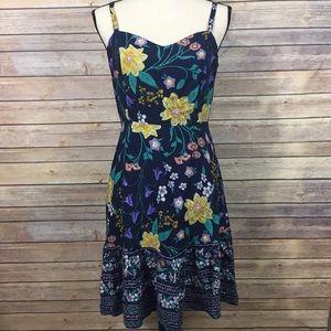 Old Navy Floral Navy Adjustable Strap Sun Dress M